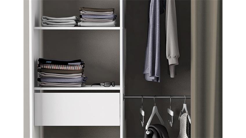 Kleiderschrank CHICAGO Perle Weiß Breite verstellbar mit Vorhang