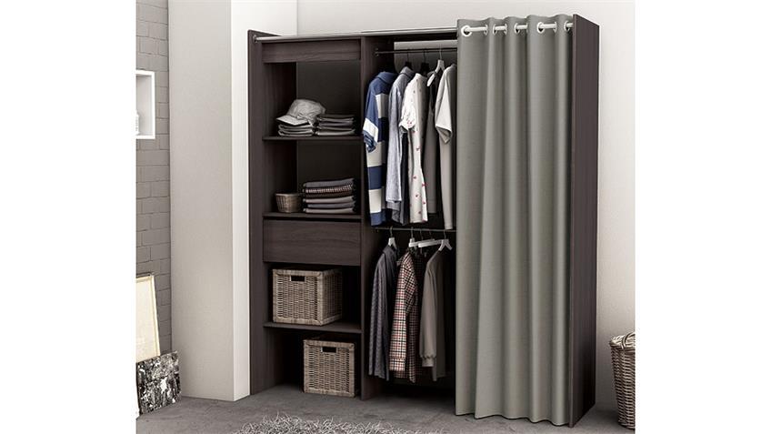 Kleiderschrank CHICAGO Vulcano Eiche Breite verstellbar mit Vorhang