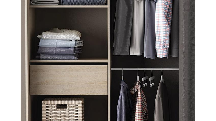 Kleiderschrank CHICAGO Sonoma Eiche Breite verstellbar mit Vorhang
