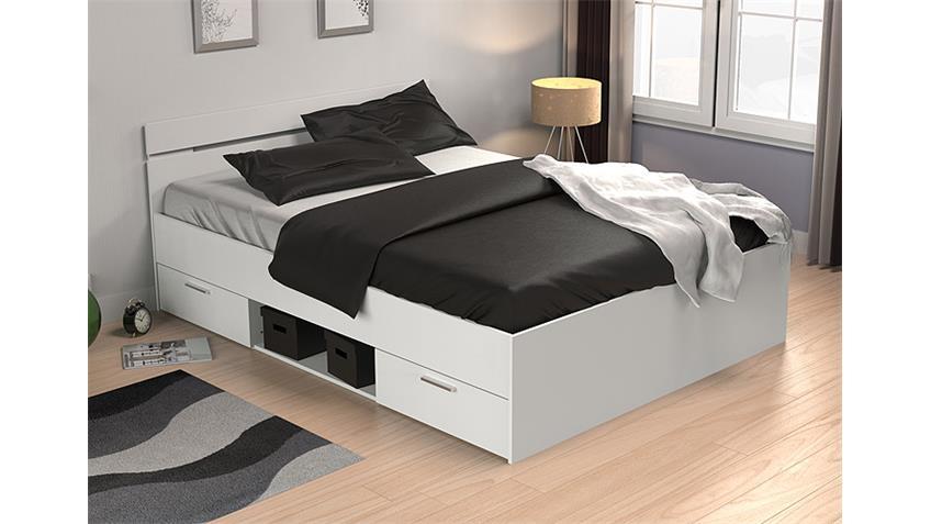 bett michigan perle wei mit schubk sten 140x200 cm. Black Bedroom Furniture Sets. Home Design Ideas
