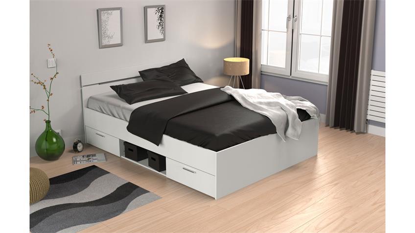 Bett MICHIGAN mit Schubkästen in weiß matt 140x200
