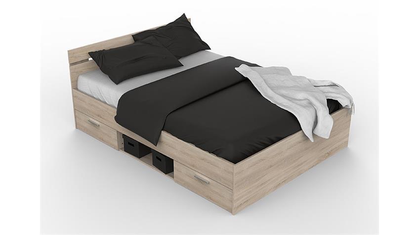 bett michigan sonoma eiche mit schubk sten 140x200 cm. Black Bedroom Furniture Sets. Home Design Ideas