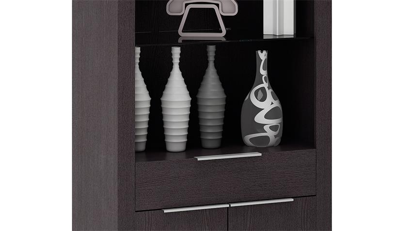 Vitrine RUBIS Schrank Highboard Regal Ebenholz braun