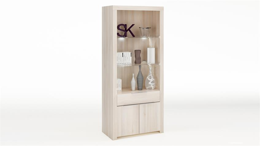 Vitrine RUBIS Schrank Highboard Regal in Akazie