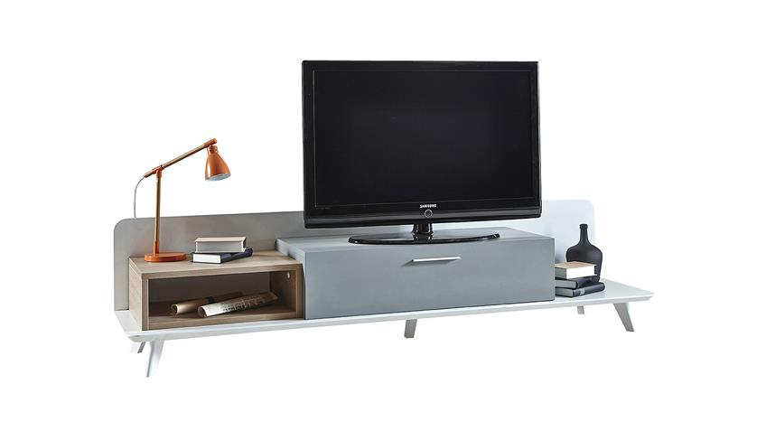 TV-Board BLOCK Unterschrank Eiche Aragon weiß perl grau 206