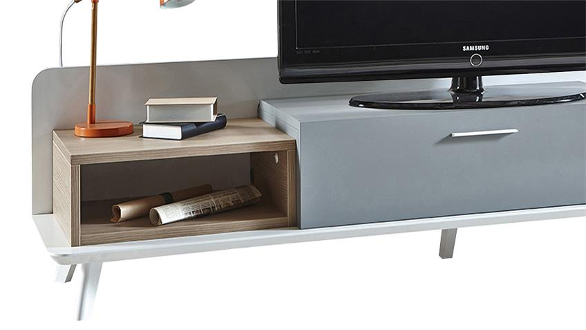 TV-Board BLOCK Unterschrank Eiche Aragon weiß perl grau 160