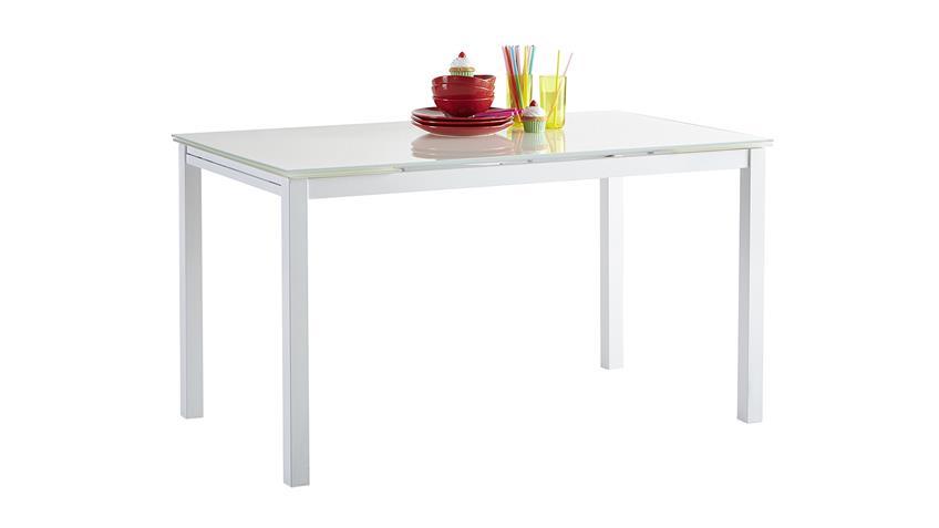 Esstisch KIARA Tisch Esszimmertisch weiß Glas ausziehbar