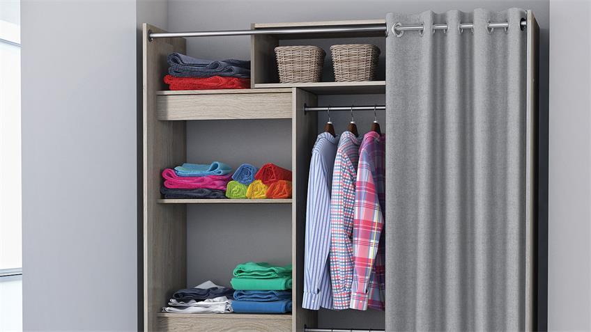 Wandschrank ODEON Kleiderschrank Shannon Eiche Vorhang