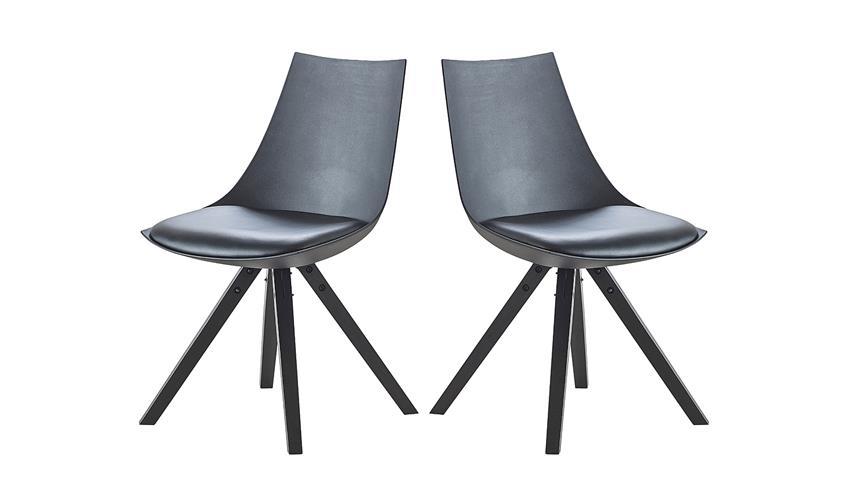 Stuhl 2er Set MILANO Polsterstuhl Massivholz schwarz