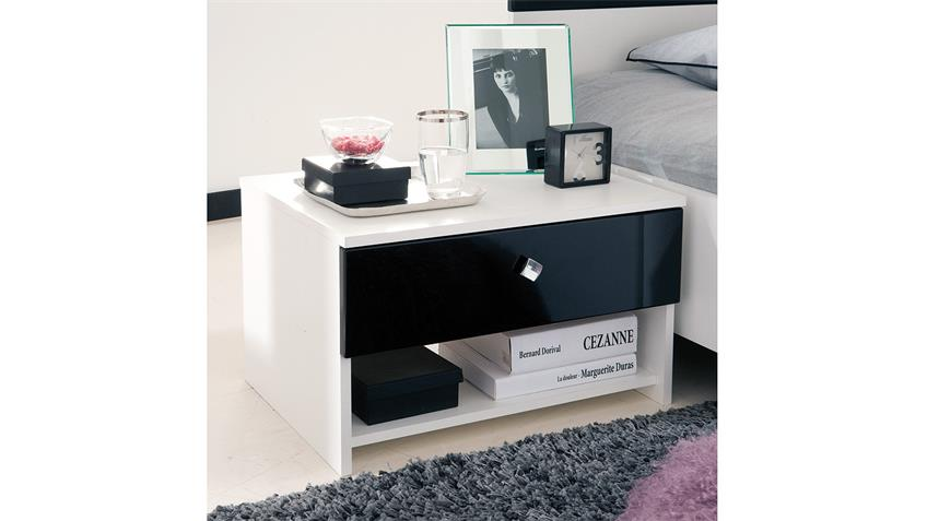 nachttisch strass nachtkommode in wei und schwarz lack. Black Bedroom Furniture Sets. Home Design Ideas