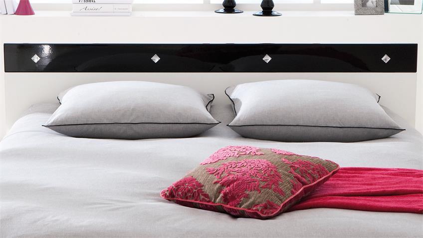 Bett STRASS Schlafzimmerbett weiß schwarz Lack 140x190