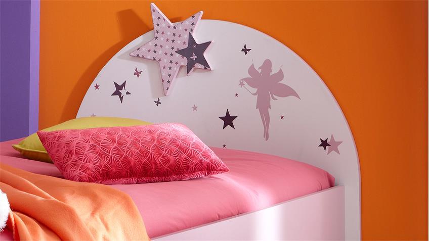 Bett FEE mit Sternen weiß flieder lila Siebdruck 90x200 cm