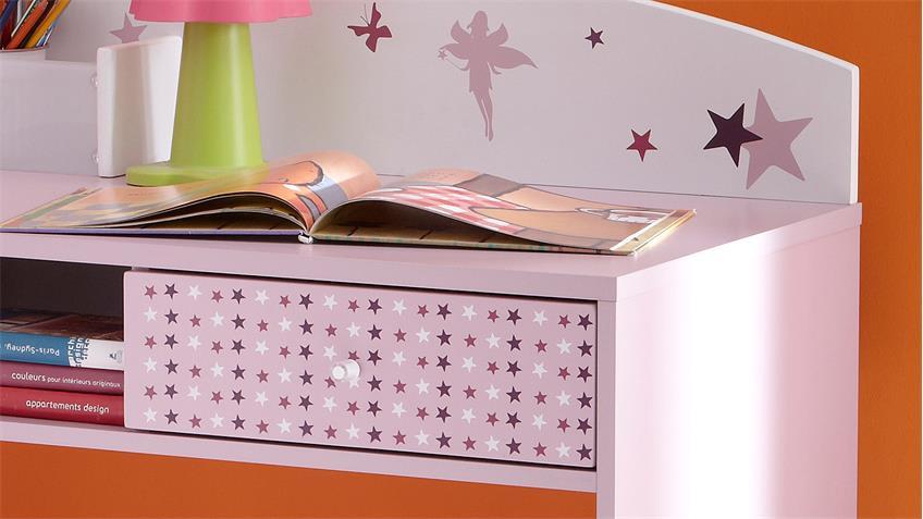 Schreibtisch FEE mit Sternen weiß flieder lila Siebdruck