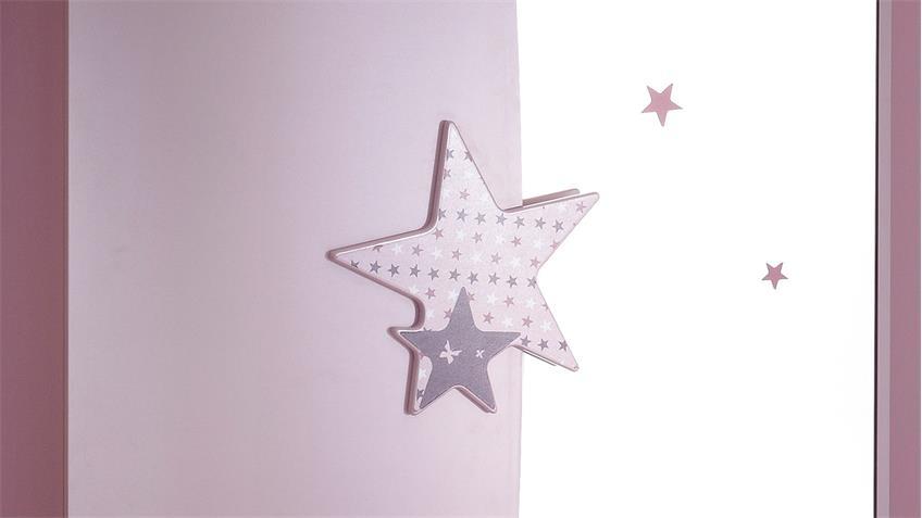 Kleiderschrank FEE Sternen weiß flieder lila Siebdruck 2 trg.