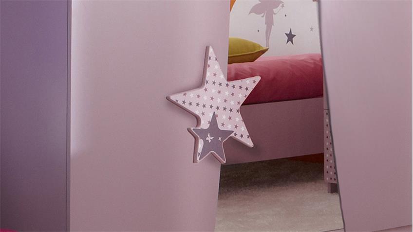 Kleiderschrank FEE Sternen weiß flieder lila Siebdruck 3 trg.