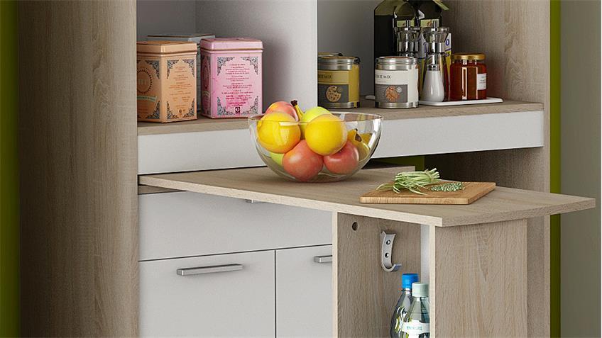 Küchenschrank URBANS weiß Sonoma Eiche ausziehbare Platte