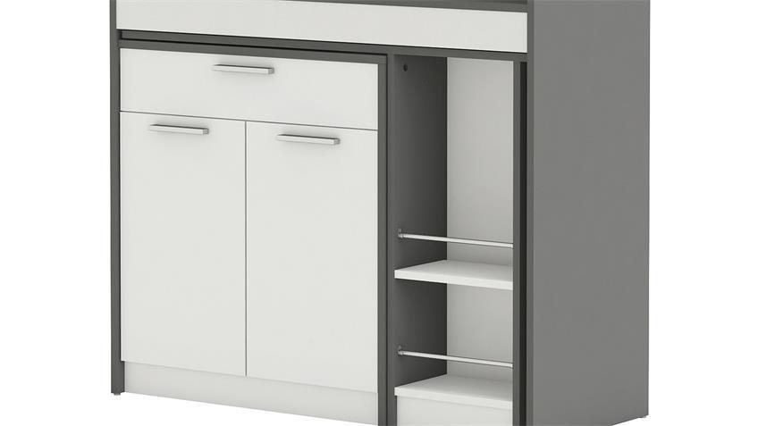 Küchenschrank URBANS weiß Graphite grau ausziehbare Platte
