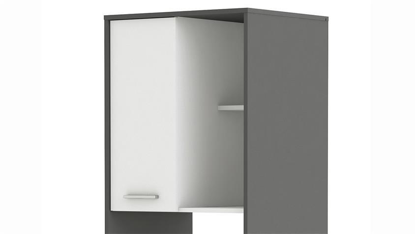 Schrank ALMOND für Mikrowelle weiß und Graphite grau