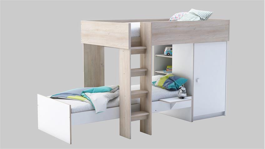 etagenbett treno wei und akazie mit schrank 90x200 cm. Black Bedroom Furniture Sets. Home Design Ideas