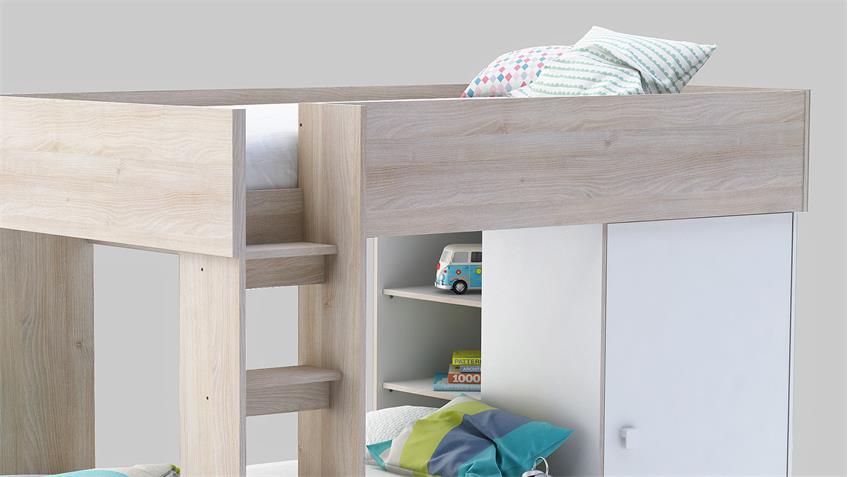 Etagenbett TRENO weiß und Akazie mit Schrank 90x200 cm