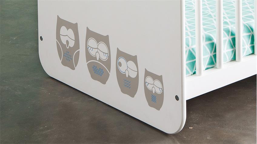 Babybett HIBOUX Kinderbett aus MDF weiß in 60x120 cm