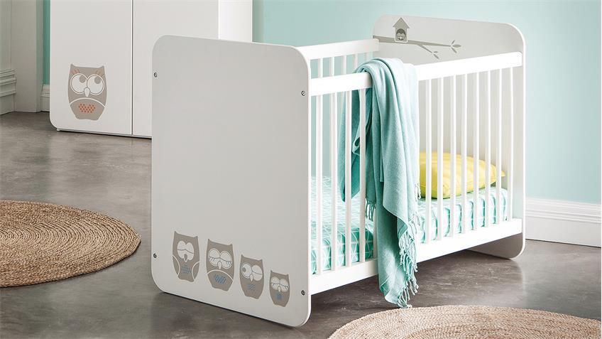 Babyzimmer Set HIBOUX aus MDF in weiß mit Eulenmotiv