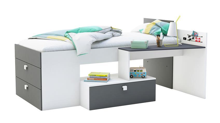 Bett MOVE in Perle weiß und Graphit grau 90x200 cm