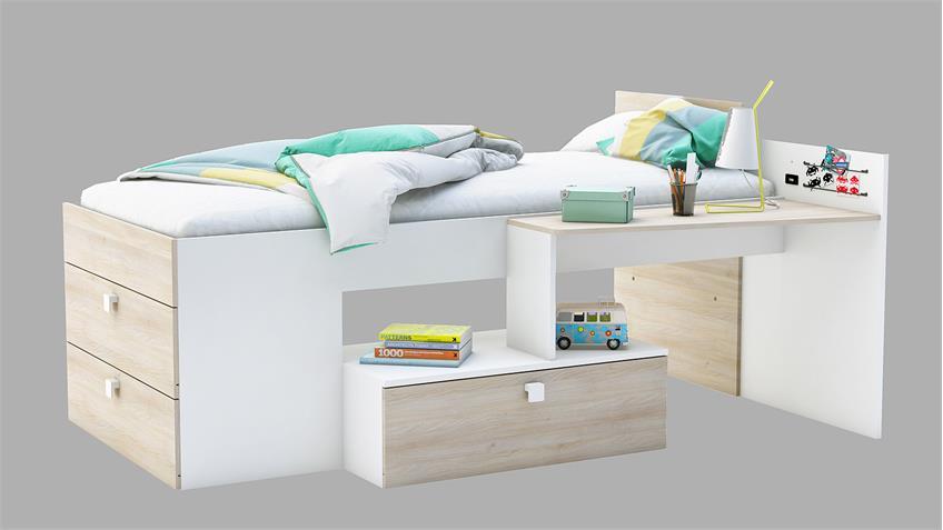 Bett MOVE mit Schubladen Perle weiß und Akazie 90x200 cm