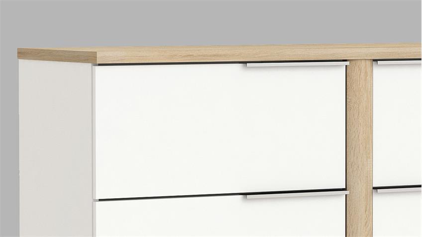 Kommode Nobel weiß und Sonoma Eiche sägerau B 117 cm