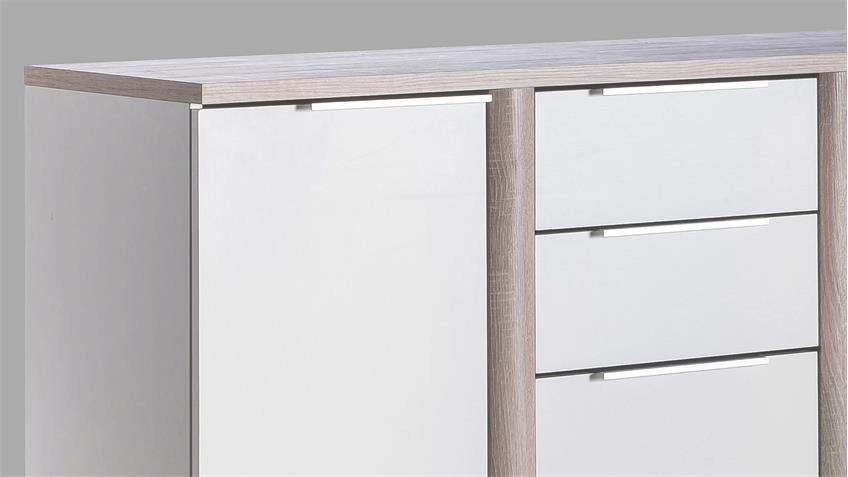 Kommode Nobel Sideboard weiß Sonoma Eiche sägerau B 126 cm