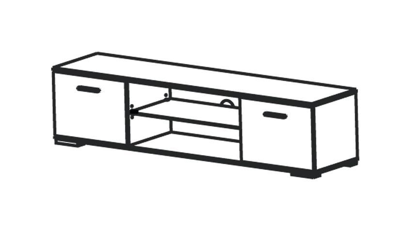 TV-Board ICY Lowboard Perle weiß Glanz B 180 cm