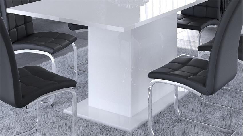 Esstisch ICY in Perle weiß Glanz 90x170 cm