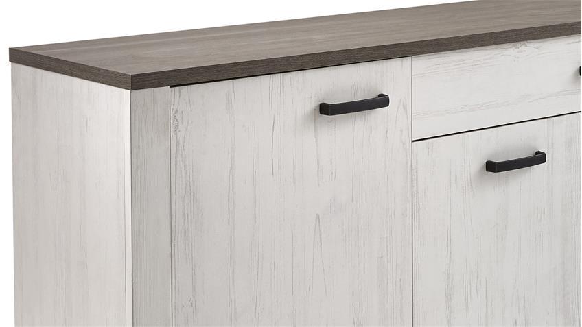 Sideboard MARQUIES in Kiefer weiß Oberplatte Prata Eiche