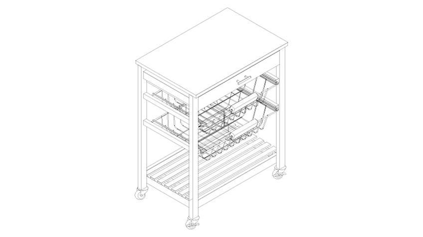 Küchenwagen COOKIES in Kiefer weiß und Edelstahl