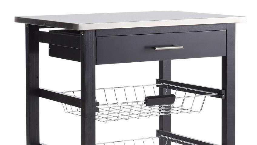 Küchenwagen COOKIES in Kiefer schwarz und Edelstahl