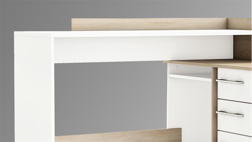 Schreibtisch Thales Eckschreibtisch Sonoma Eiche und weiß