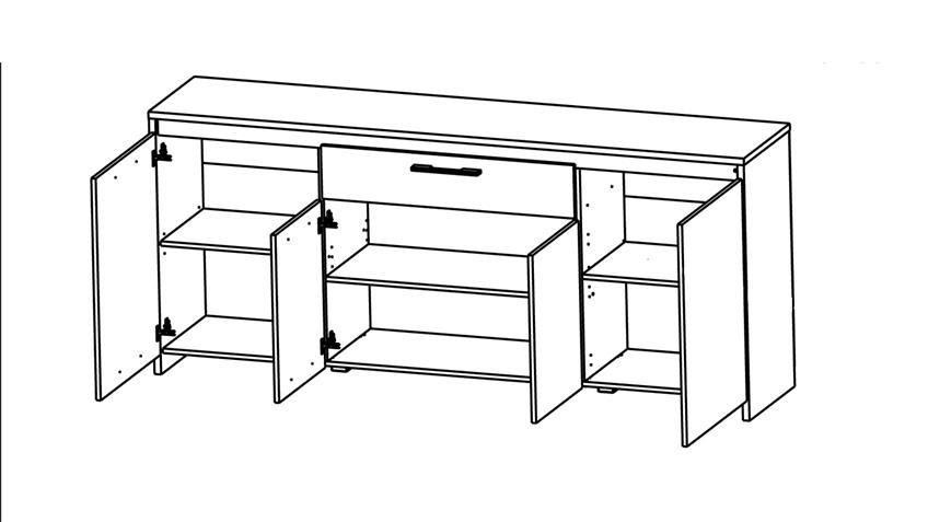 Sideboard STEEN in Eiche dunkel Basalt Breite 200 cm