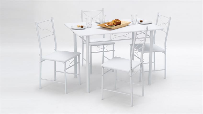 Tischgruppe WHITNEY in weiß Tisch mit 4 Stühlen