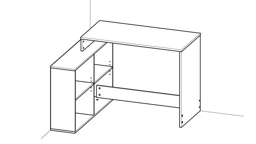 Eckschreibtisch CORNERS Schreibtisch Shannon Eiche inkl. Regal 112x101