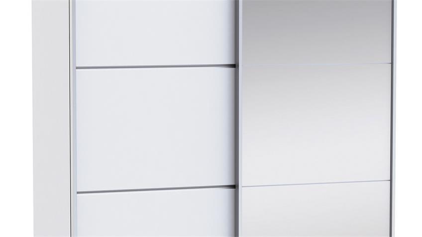 Schwebetürenschrank GLASSY in Perle weiß B 154 cm