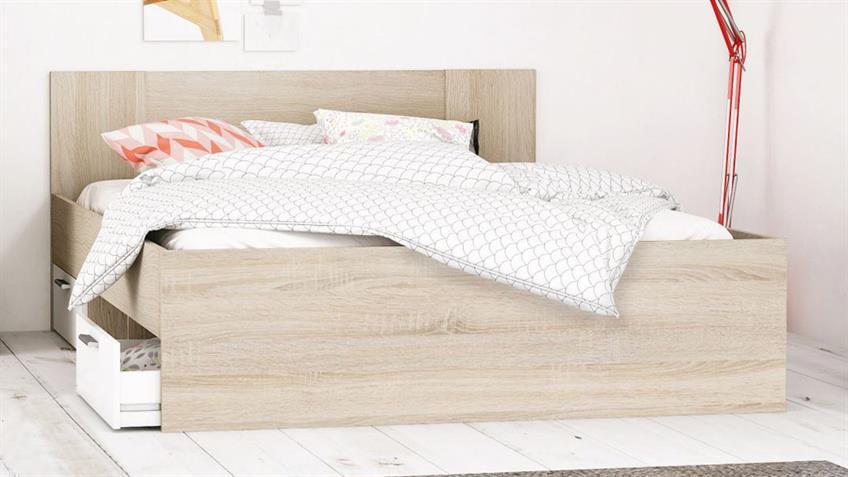 bett detroit doppelbett in sonoma eiche und wei 180x200 cm. Black Bedroom Furniture Sets. Home Design Ideas