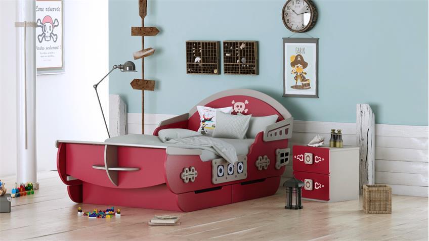 Bett CAPTAIN Kinderbett MDF rot und beige inkl. Lattenrost 90x200 cm