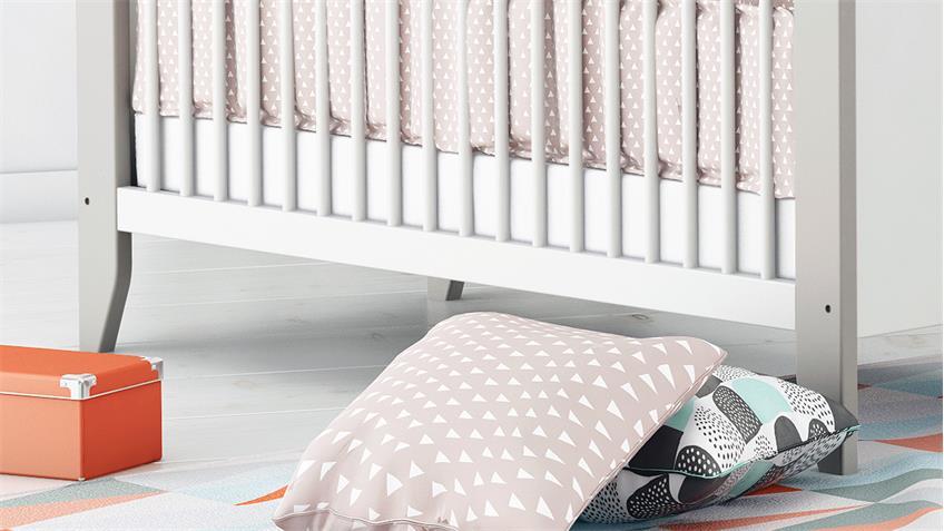 Babybett NOAR Kinderbett Gitterbett Bett in weiß taupe grau 70x140 cm
