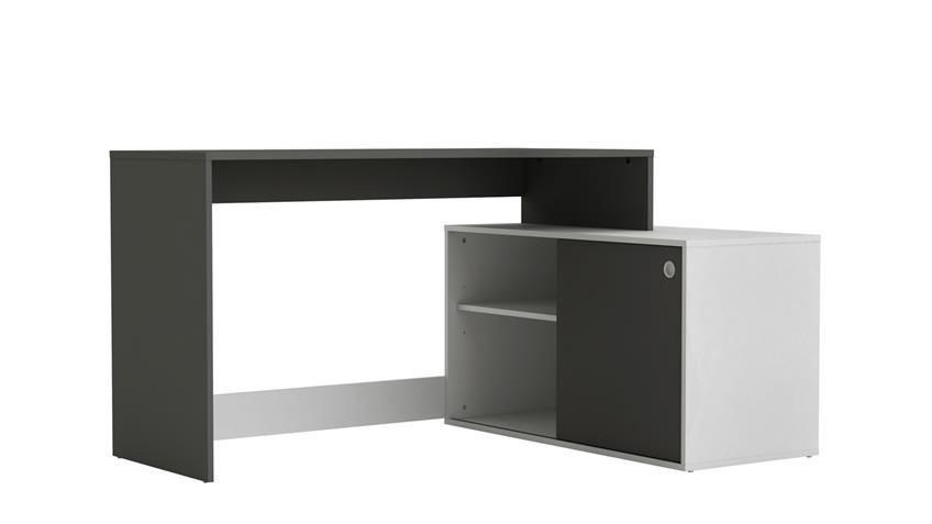 Eckschreibtisch CAYDE Schreibtisch Tisch weiß graphit grau