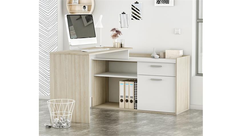 Eckschreibtisch NEVADA Schreibtisch weiß und Shannon Eiche 109x50 cm