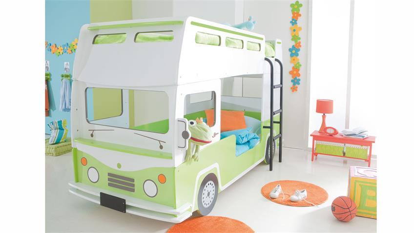 Etagenbett Hochbett  BUSSY Autobus MDF weiß grün lackiert