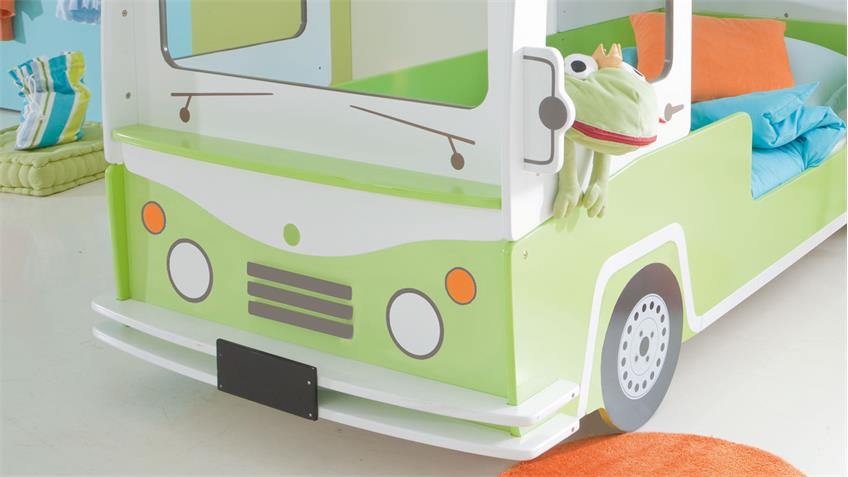 Etagenbett Bussy Autobus Hochbett weiß grün lackiert mit Leiter