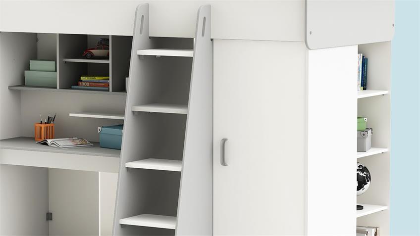 kinderzimmer set 1 hampton bett schrank wei matt grau. Black Bedroom Furniture Sets. Home Design Ideas