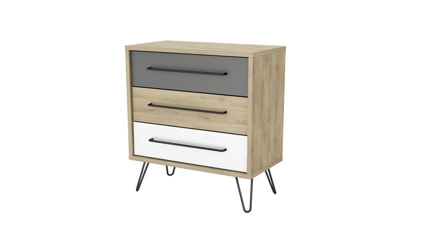 Kommode FILEA Schrank Retro Look 3-farbig Eiche weiß grau