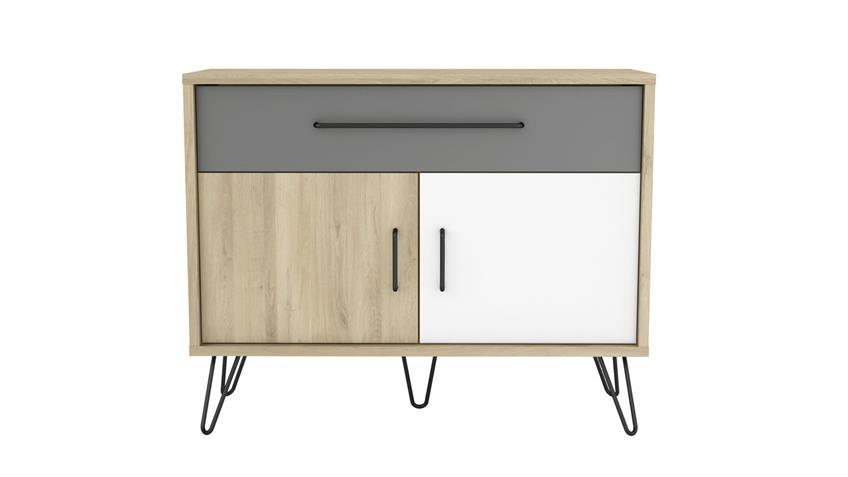 Sideboard FILEA Schrank 3-farbig Eiche weiß grau Retro Look